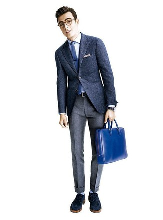 How to wear: navy wool blazer, white dress shirt, grey wool dress pants, navy suede brogues