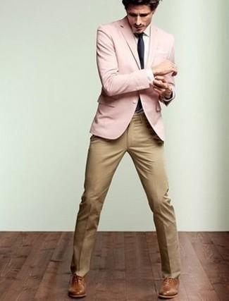 Men's Pink Blazer, White Dress Shirt, Khaki Dress Pants, Brown ...