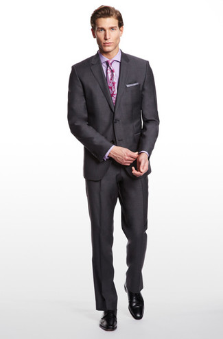 How to wear: charcoal blazer, violet dress shirt, charcoal dress pants, black leather derby shoes