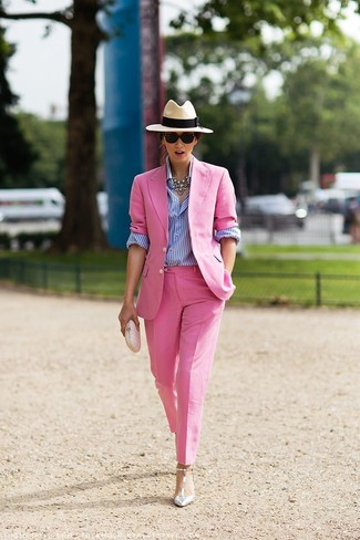 How to wear: pink blazer, white and blue vertical striped dress shirt, pink dress pants, silver leather pumps