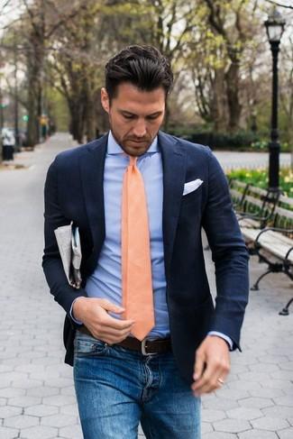 How to wear: navy linen blazer, light blue dress shirt, blue jeans, orange tie