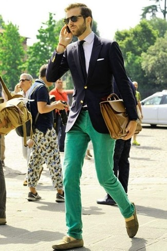 How to wear: navy blazer, white dress shirt, mint jeans, olive suede loafers