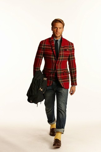 How to wear: red plaid blazer, grey dress shirt, charcoal jeans, brown leather loafers