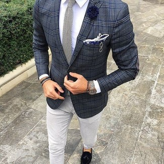How to wear: charcoal plaid blazer, white dress shirt, grey jeans, black suede tassel loafers