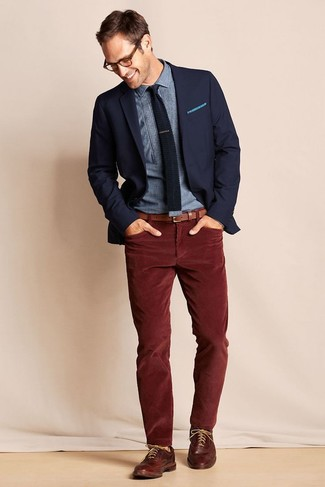 How to wear: navy blazer, blue chambray dress shirt, burgundy corduroy jeans, brown leather brogues