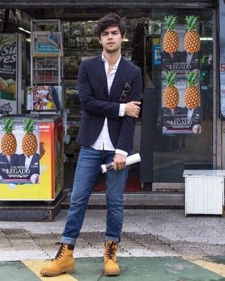 How to wear: navy blazer, white dress shirt, blue jeans, tan suede work boots