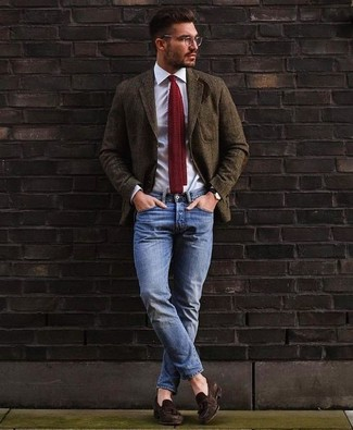How to wear: olive wool blazer, white dress shirt, blue jeans, dark brown suede tassel loafers