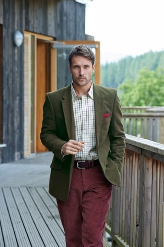 How to wear: olive wool blazer, white check dress shirt, burgundy corduroy jeans, red pocket square