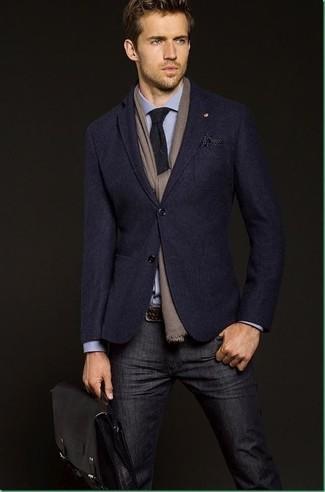 How to wear: navy blazer, blue dress shirt, navy jeans, black leather briefcase