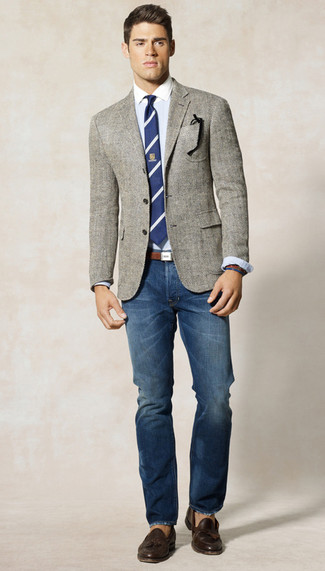 How to wear: grey herringbone blazer, light blue dress shirt, blue jeans, brown leather tassel loafers