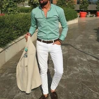 How to wear: beige blazer, mint dress shirt, white skinny jeans, dark brown leather tassel loafers