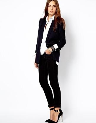 How to wear: black vertical striped blazer, white dress shirt, black velvet skinny pants, black suede pumps