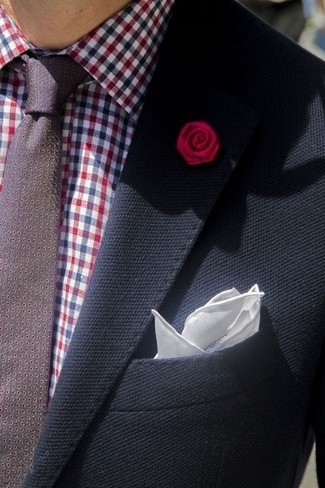 How to wear: navy blazer, burgundy gingham dress shirt, burgundy polka dot tie, white silk pocket square