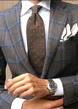 How to wear: dark brown check wool blazer, white dress shirt, dark brown polka dot tie, white pocket square