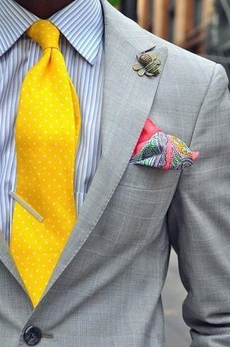 How to wear: grey check blazer, light blue vertical striped dress shirt, yellow polka dot tie, pink paisley pocket square
