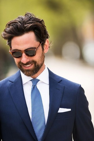 How to wear: navy blazer, white dress shirt, blue polka dot tie, white pocket square