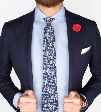 How to wear: navy blazer, light blue dress shirt, navy floral tie, white pocket square