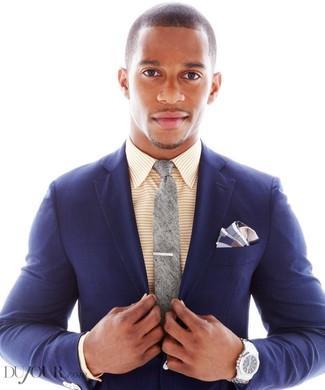 How to wear: navy plaid blazer, yellow horizontal striped dress shirt, grey tie, navy plaid pocket square