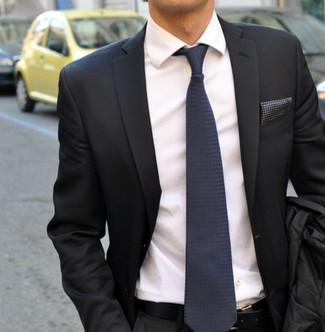 How to wear: charcoal blazer, white dress shirt, navy silk tie, charcoal polka dot pocket square
