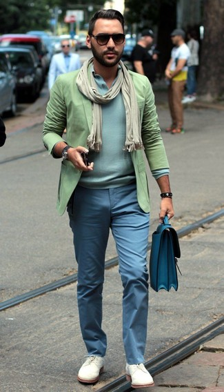 How to wear: green blazer, light blue henley sweater, light blue chinos, white suede brogues