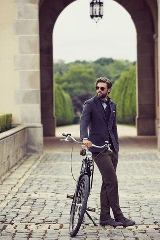 How to wear: navy wool blazer, navy henley sweater, light blue chambray dress shirt, charcoal chinos