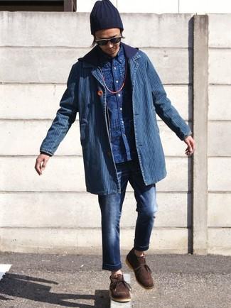 How to wear: blue denim blazer, navy hoodie, blue print long sleeve shirt, navy jeans