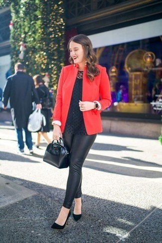 How to wear: red blazer, black polka dot long sleeve blouse, black leather leggings, black suede pumps