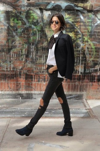 How to wear: black blazer, white ruffle long sleeve blouse, black ripped skinny jeans, navy suede ankle boots