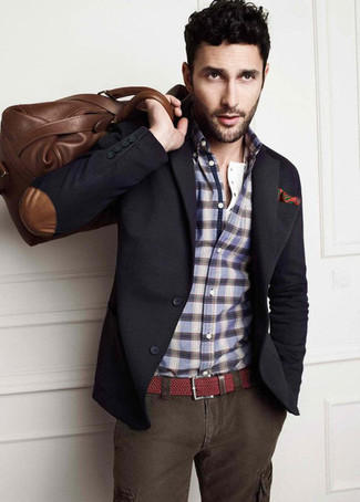 How to wear: charcoal blazer, blue plaid long sleeve shirt, charcoal cargo pants, brown leather holdall