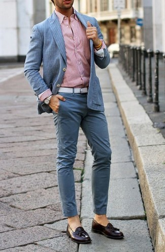 How to wear: light blue vertical striped blazer, white and red vertical striped long sleeve shirt, light blue chinos, burgundy leather tassel loafers