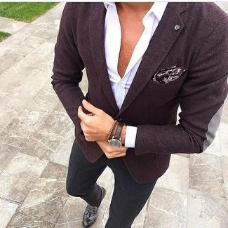 How to wear: dark purple blazer, white long sleeve shirt, black chinos, black leather tassel loafers