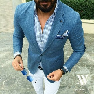 How to wear: blue blazer, light blue gingham long sleeve shirt, white chinos, blue paisley pocket square