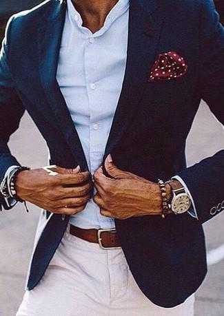 How to wear: navy blazer, light blue long sleeve shirt, white chinos, burgundy polka dot pocket square