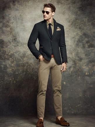 How to wear: black wool blazer, olive long sleeve shirt, khaki chinos, dark brown suede tassel loafers
