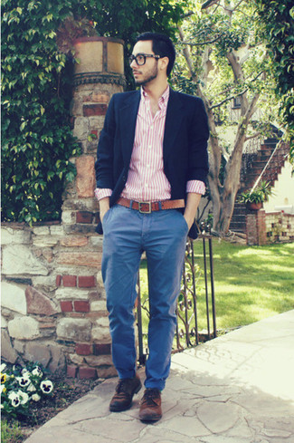 How to wear: navy blazer, pink vertical striped long sleeve shirt, blue chinos, brown suede derby shoes