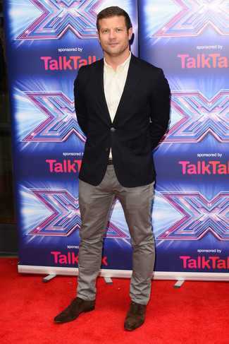 Dermot O'Leary wearing Black Blazer, White Long Sleeve Shirt, Grey Chinos, Dark Brown Suede Oxford Shoes