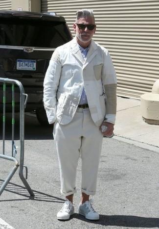 Nick Wooster wearing White Linen Blazer, Light Blue Long Sleeve Shirt, Beige Linen Chinos, White Low Top Sneakers