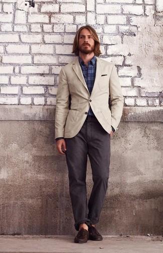 How to wear: beige cotton blazer, navy plaid long sleeve shirt, dark brown chinos, dark brown leather boat shoes