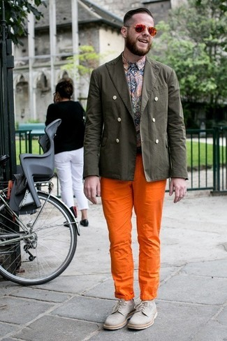 How to wear: olive cotton blazer, multi colored paisley long sleeve shirt, orange chinos, grey canvas derby shoes