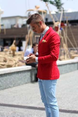 How to wear: red cotton blazer, white polka dot long sleeve shirt, light blue chinos, light blue tie