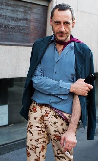 Men's Navy Cotton Blazer, Blue Long Sleeve Shirt, Beige Floral Chinos, Purple Scarf