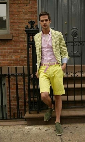 How to wear: yellow gingham blazer, pink vertical striped long sleeve shirt, beige crew-neck t-shirt, yellow shorts