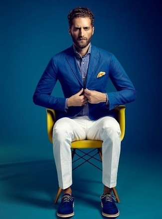 How to wear: blue cotton blazer, white and navy polka dot long sleeve shirt, white dress pants, blue suede derby shoes