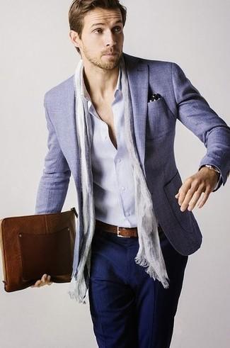 How to wear: light blue blazer, light blue long sleeve shirt, navy dress pants, black polka dot pocket square