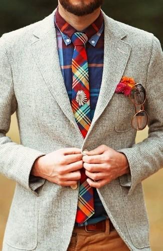 How to wear: grey wool blazer, multi colored plaid long sleeve shirt, brown corduroy dress pants, multi colored plaid tie