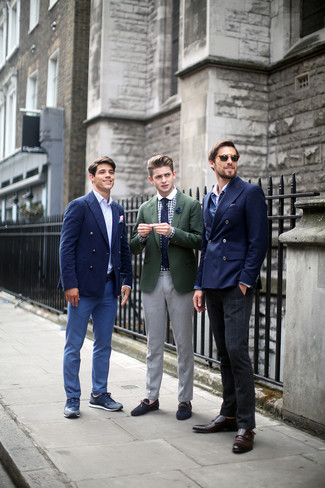 How to wear: olive blazer, navy and white gingham long sleeve shirt, grey dress pants, navy suede boat shoes