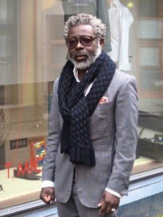 Men's Grey Blazer, White Long Sleeve Shirt, Grey Dress Pants, Floral Pocket Square