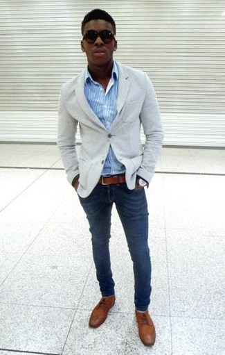 How To Wear A Grey Blazer With Brown Derby Shoes 27 Looks Outfits