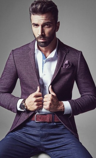 Dress in a violet wool blazer and navy jeans to achieve a dressy but not too dressy look.