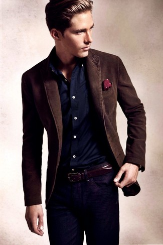 Men's Dark Brown Blazer, Navy Long Sleeve Shirt, Navy Jeans, Burgundy Polka Dot Pocket Square